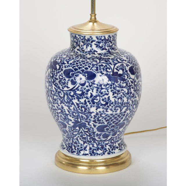19th Century Chinese Blue & White Porcelain Vase now a Lamp For Sale In New York - Image 6 of 11