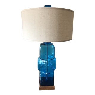 Mid-Century Modern Style Blenko Cube Lamp For Sale