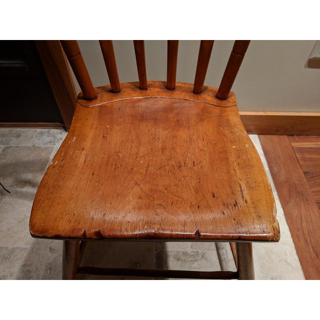American Primitive Maple Thumb Back Chair For Sale In Boston - Image 6 of 8