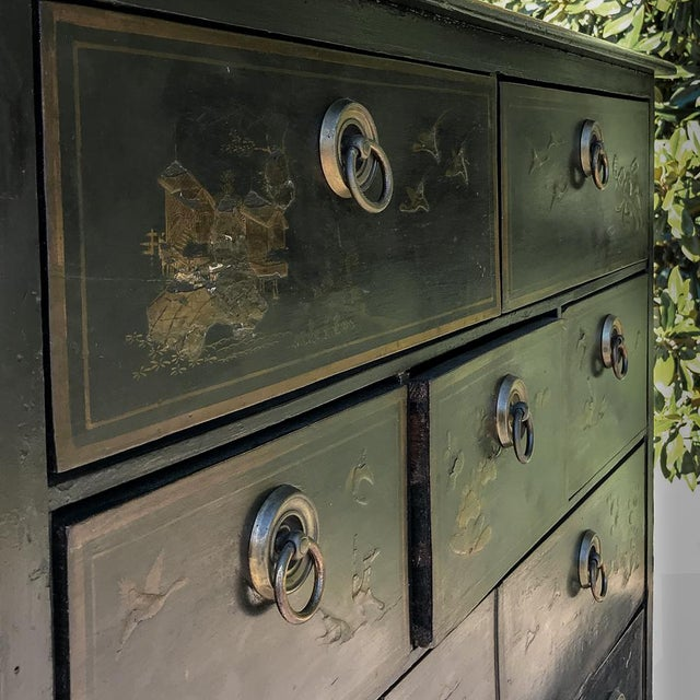 19th Century Ebonized & Hand-Painted Chinoiserie Raised Cabinet For Sale - Image 10 of 12