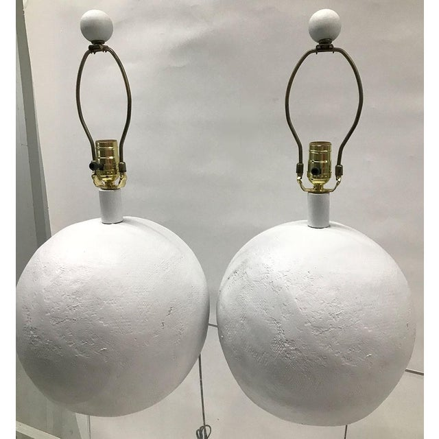 1970s Plaster Sphere Lamps — a Pair For Sale - Image 9 of 11