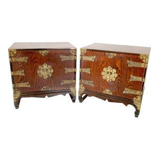 Vintage Korean Ming Style Chinoiserie Nightstand Cabinets - a Pair For Sale