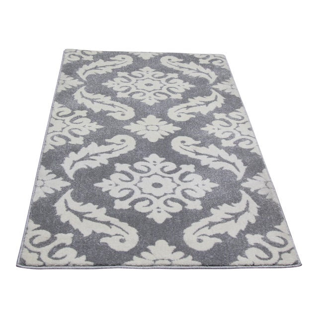 "Small Damask Pattern Rug - 2'8"" X 5' - Image 1 of 3"