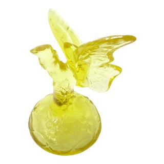 20th Century Fenton Yellow Glass Butterfly For Sale