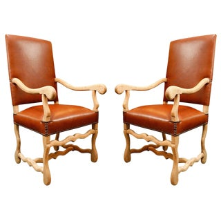 19th Century Bleached Oak and Elm Chairs Upholstered in Leather - a Pair For Sale