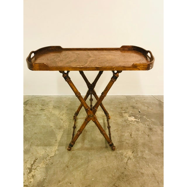 Green Campaign Tray Table For Sale - Image 8 of 8