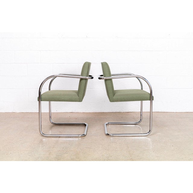 Chrome Mies Van Der Rohe Green Brno Chairs For Sale - Image 7 of 11