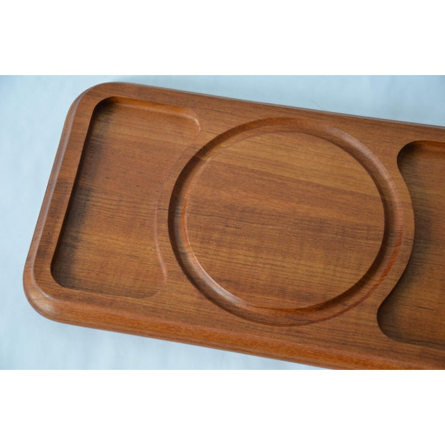 Mid 20th Century Mid-Century Danish Modern Glass Domed Teak Cheese Serving Board For Sale - Image 5 of 9