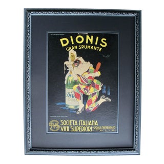 Framed Italian Art Deco Spumante Advertisement, 1920's For Sale
