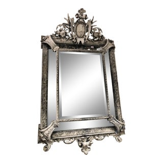 French Mirror With White and Gray Paint Over Gilt For Sale