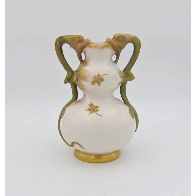 Late 19th Century Austrian Art Nouveau Amphora RStK Ivory Porcelain Vase With Dragon Handles For Sale In Los Angeles - Image 6 of 13