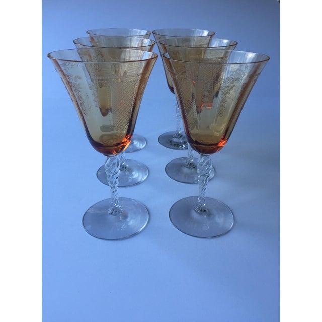 Antique Fleur De Lis Etched Amber Glass Tableware Set - Set of 37 For Sale - Image 9 of 11