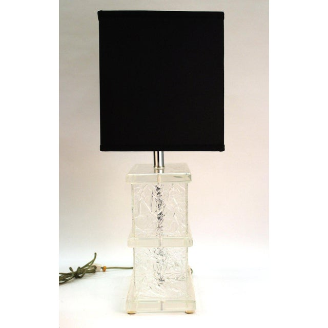 Metal Mid-Century Modern Lucite Crackle Table Lamps With Black Shades - a Pair For Sale - Image 7 of 13