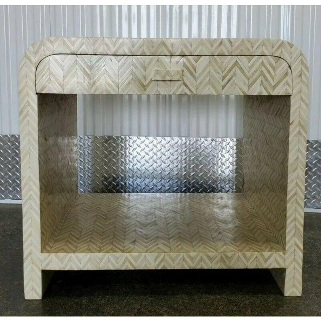 1970's tessellated bone nightstand with drawer sold as found in vintage condition without overt damage.