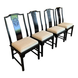 1970s Vintage Century Furniture Chin Hua Raymond Sobota Asian Chinoiserie Chairs- Set of 4 For Sale