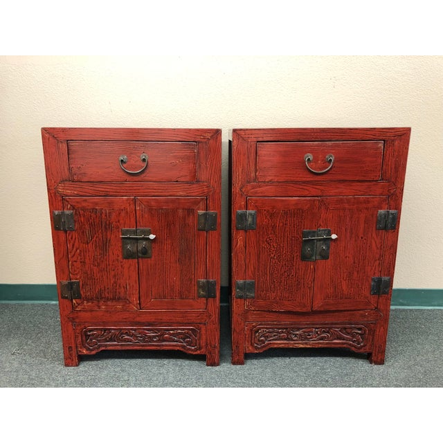 Antique Asian Red Lacquer Side Tables - a Pair For Sale - Image 13 of 13