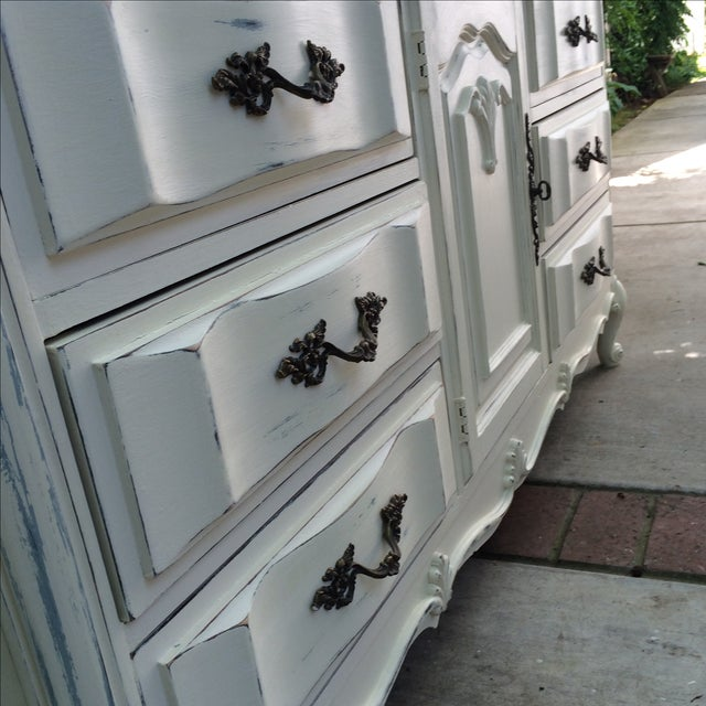 French Provincal White Buffet Dresser For Sale - Image 10 of 11