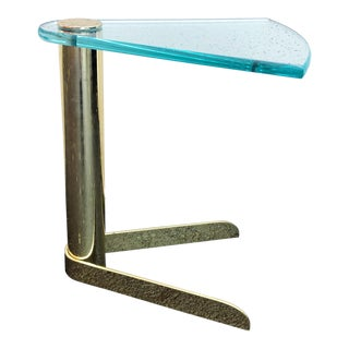 1970s Post Modern Leon Rosen for Pace Glass and Brass Drinks Table For Sale