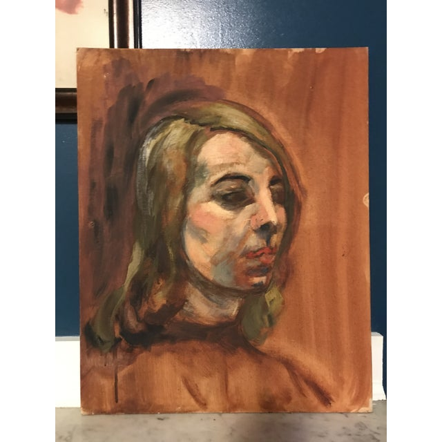 Impressionism Mid-Century Woman Oil Portrait Painting For Sale - Image 3 of 4