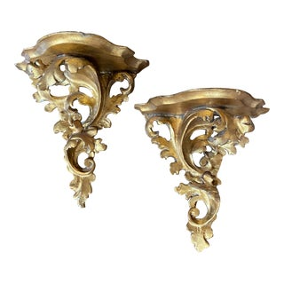 1950s Italian Florentine Carved Gold Giltwood Wall Brackets - a Pair For Sale