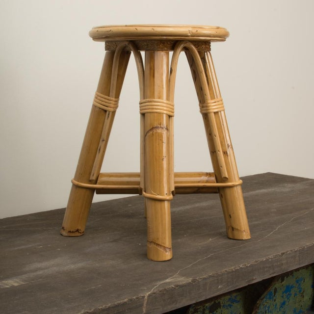 Modern Bamboo and Rattan Stool For Sale - Image 10 of 10
