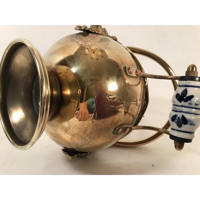 Blue Vintage Irish Brass and Flo Blue Coal Shuttle For Sale - Image 8 of 10
