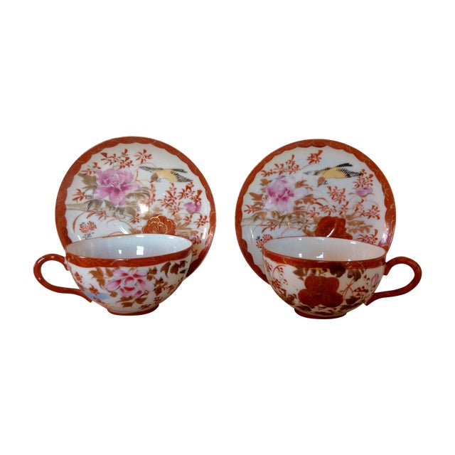 1920's Satsuma Eggshell Cups & Saucers - A Pair - Image 1 of 8