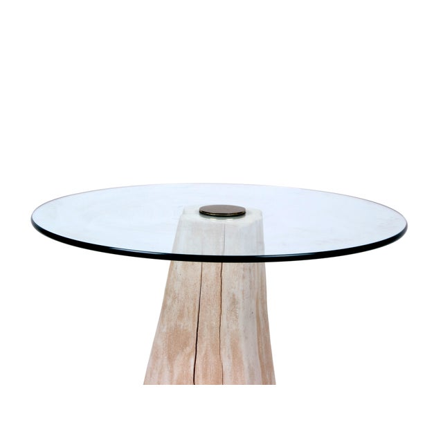 Round Mid-Century Modern Tree Stump Glass Side Table For Sale - Image 4 of 8