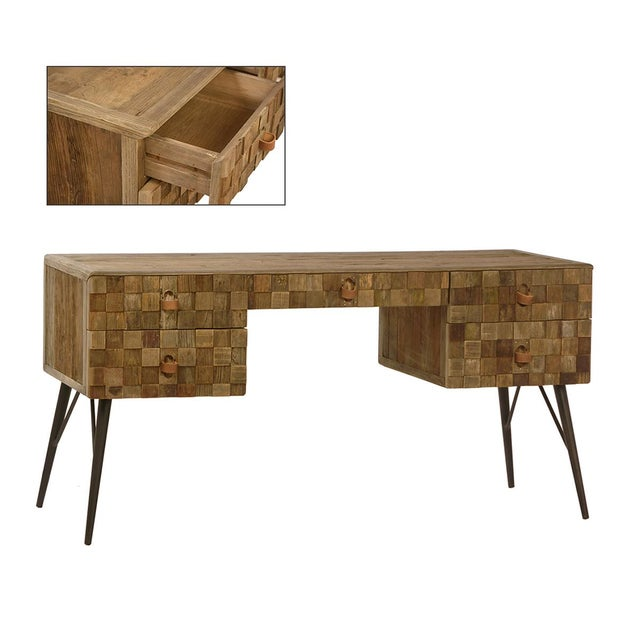 This Reclaimed Wood Desk Features One Center Drawer And Four Side Drawers It S Perfect For