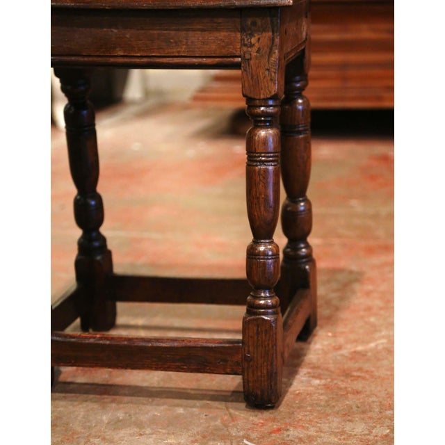 French 19th Century French Louis XIII Carved Chestnut Country Stool From Normandy For Sale - Image 3 of 7