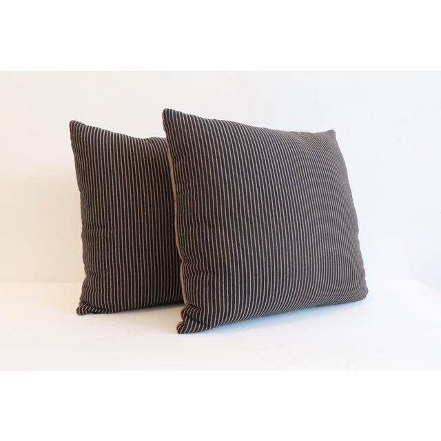 Custom Navy & Tan Stripe Pillows - A Pair - Image 2 of 5