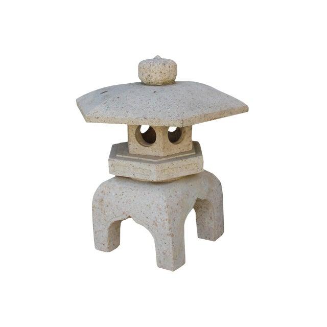 Chinese Zen Off White Gray Hexagon Stone Garden Lantern Statue For Sale