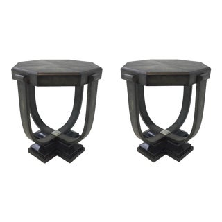 Art Deco Style Maitland Smith Modern Black Shagreen and Marble Octagonal End Tables Pair For Sale