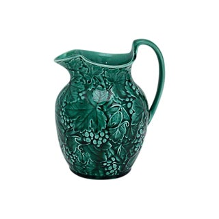 Wedgwood Green Majolica Grapevine Jug For Sale
