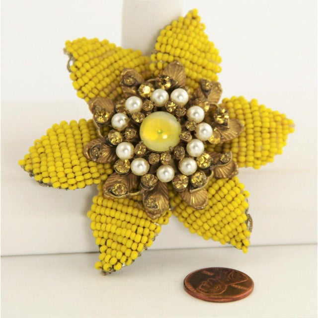 Mid-Century Modern Vintage Miriam Haskell Large Beaded Flower Brooch For Sale - Image 3 of 5