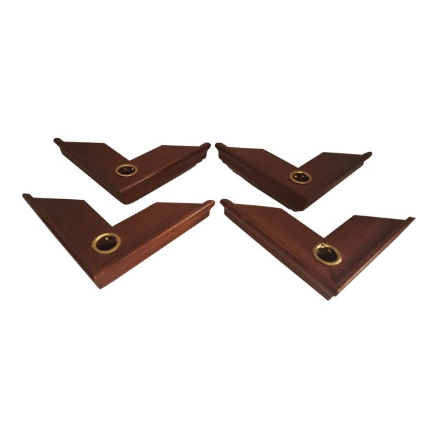 Vintage Wood Wall Mount Candle Holders - Set of 4 For Sale