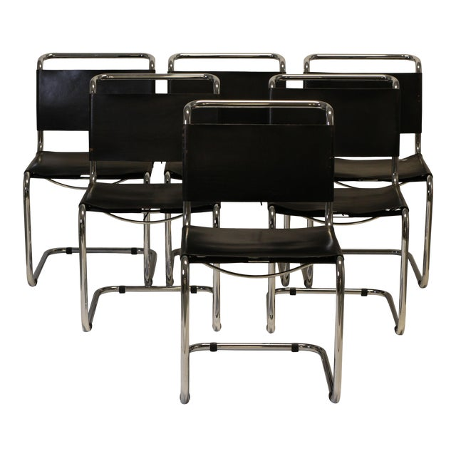 Chrome and Leather Cantilevered Dining Chairs in the Style of Mies Van Der Rohe - Set of 8 For Sale