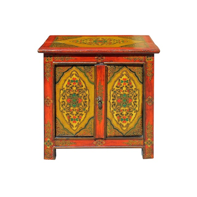 Chinese Multi-Color Tibetan Flower Motif Small Table Cabinet For Sale