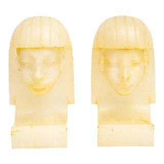 Egyptian Revival Art Deco Alabaster Bookends - a Pair For Sale