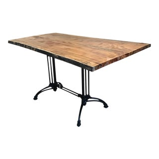 Live Edge Spalted Maple Top Dining Table With Black Cast Iron Base