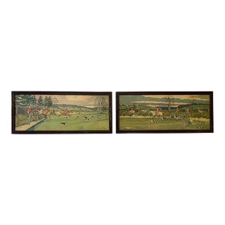 Harry Elliot Fox Hunting Hand-Tinted Lithographs, Framed - a Pair For Sale