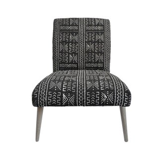 Mudcloth Black & White Side Chair For Sale