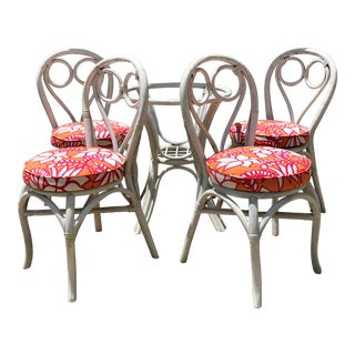 Vintage Painted Rattan Set in Schumacher For Sale