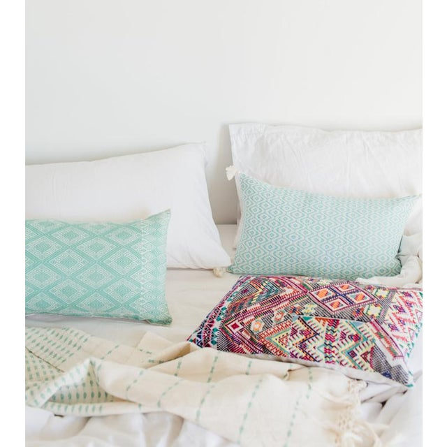 Mexican Mint Diamond Brocaded Pillow - Image 4 of 4