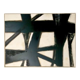 Abstract Black, White, and Parchment Painting