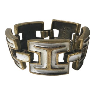 Mid Century Modern Bronze and White Enamel Link Bracelet by French Designer St Luc For Sale