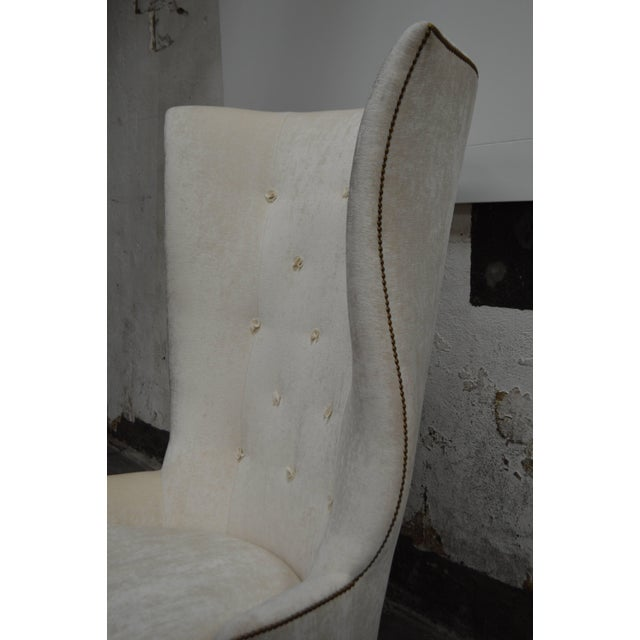 2010s Custom Gudinna Tall Barrel Wing Chair For Sale - Image 5 of 9
