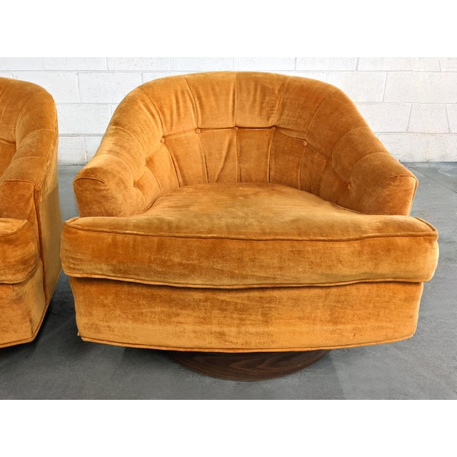 1960s Mid Century Modern Walnut Base Swivel Club Chairs - a Pair For Sale - Image 5 of 10