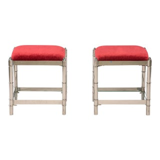 Italian Hollywood Regency Nickel Plated Faux Bamboo Stools - a Pair For Sale