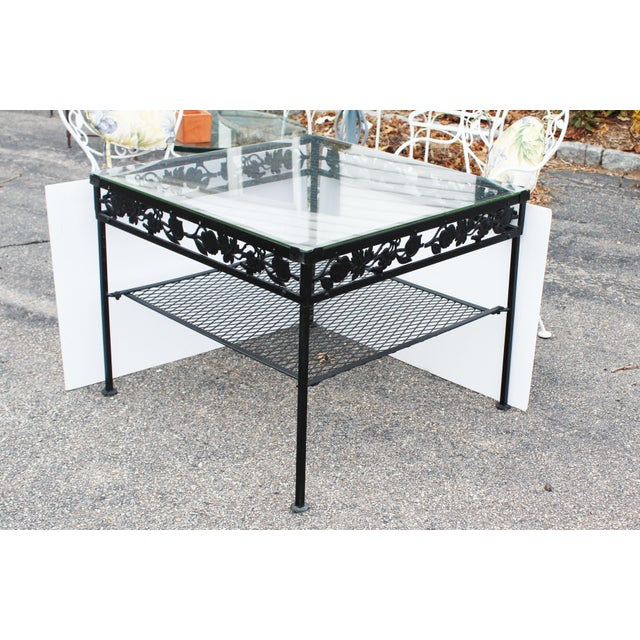Glass Square Glass Top Iron Outdoor Table For Sale - Image 7 of 7